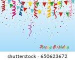 colorful multicolored confetti... | Shutterstock .eps vector #650623672