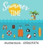 flat concept of summer travel...   Shutterstock .eps vector #650625376