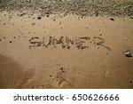 sandy beach waves at sunset sea ... | Shutterstock . vector #650626666