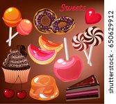vector cartoon sweets set with... | Shutterstock .eps vector #650629912