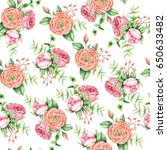 seamless floral watercolor... | Shutterstock . vector #650633482