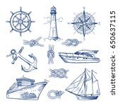 marine doodles set with ships ... | Shutterstock .eps vector #650637115