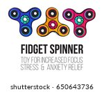 three colorful fidget spinners... | Shutterstock .eps vector #650643736