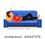 man listening music and... | Shutterstock .eps vector #650647378