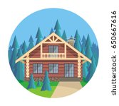 the image of a log house in an... | Shutterstock .eps vector #650667616