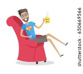 father sitting in the arm chair ... | Shutterstock .eps vector #650669566