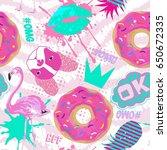 seamless girlish pattern. fancy ... | Shutterstock .eps vector #650672335