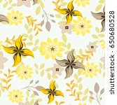 vector seamless flowers and... | Shutterstock .eps vector #650680528