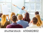 speaker at business meeting in... | Shutterstock . vector #650682802
