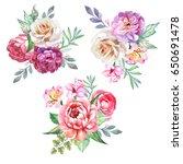 set of flowers bouquets... | Shutterstock . vector #650691478