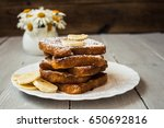 french toast with banana and... | Shutterstock . vector #650692816