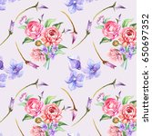 flowers pattern.watercolor | Shutterstock . vector #650697352