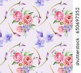 flowers pattern.watercolor   Shutterstock . vector #650697352