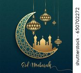 eid mubarak design background.... | Shutterstock .eps vector #650702272