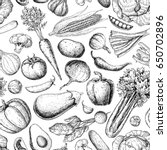 vegetable seamless pattern.... | Shutterstock . vector #650702896