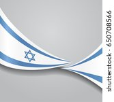 israeli flag wavy abstract... | Shutterstock . vector #650708566