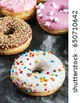 glazed donuts with different... | Shutterstock . vector #650710642