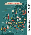 europe travel map poster.... | Shutterstock .eps vector #650712895