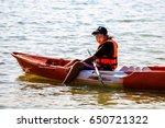 children enjoy canoeing on... | Shutterstock . vector #650721322