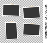 photo frame with sticky tape on ... | Shutterstock .eps vector #650727835