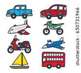 various vehicle doodle... | Shutterstock .eps vector #650731966