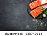 Raw Salmon Fish Fillet On Blac...