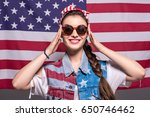 portrait of smiling stylish... | Shutterstock . vector #650746462