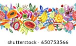seamless pattern with tropical  ... | Shutterstock . vector #650753566
