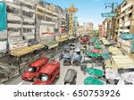 sketch of cityscape in thailand ... | Shutterstock .eps vector #650753926