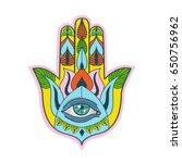colorful hand of fatima. hamsa... | Shutterstock .eps vector #650756962