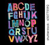 alphabet poster  dry brush ink... | Shutterstock .eps vector #650775592