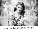 sexy woman in stylish garden.... | Shutterstock . vector #650779825