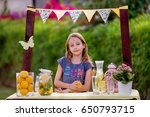 young girl standing at her... | Shutterstock . vector #650793715