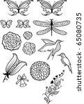 vector flowers  butterflies ... | Shutterstock .eps vector #65080735