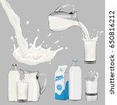 set of pouring milk and splash. ... | Shutterstock . vector #650816212