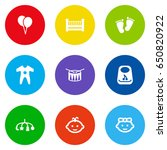 set of 9 baby icons set...   Shutterstock .eps vector #650820922