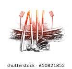 cricket stadium with ball bell... | Shutterstock .eps vector #650821852