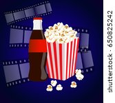 cinema background with popcorn... | Shutterstock .eps vector #650825242