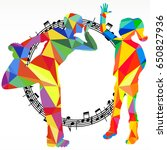 polygon silhouettes dancing... | Shutterstock . vector #650827936