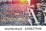 Urban Concrete Brick Wall With...