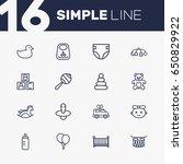 set of 16 child outline icons... | Shutterstock .eps vector #650829922