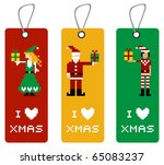 Christmas label with different funny season pixeled characters. - stock photo