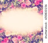 floral composition with roses   ... | Shutterstock . vector #650833156