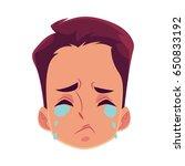 young man face  crying facial...   Shutterstock .eps vector #650833192