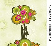 couple and retro tree | Shutterstock .eps vector #650835346