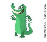 Cute Cartoon Crocodile. Vector...