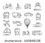 transport icons in doodle style | Shutterstock . vector #650848138