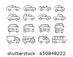 car icons in doodle style | Shutterstock . vector #650848222