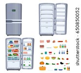 closed and opened refrigerator... | Shutterstock .eps vector #650850052