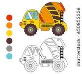coloring book concrete truck ...   Shutterstock .eps vector #650853226
